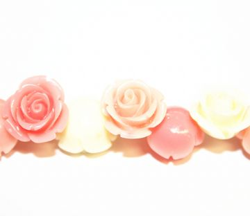 16pcs x 20mm Acrylic flower - rose beads - multi-colours - peach, coral, and cream